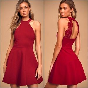 Lulu Chic Halter Backless Lace Formal Skater Dress